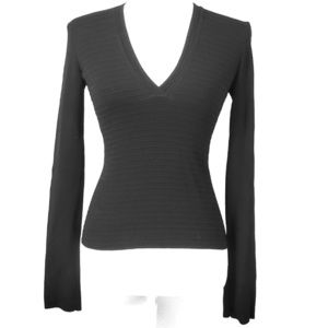 A/X Armani Exchange Black Vneck Ribbed Stretch Top